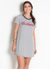 T-shirt Dress com Estampa. Camisão Feminino
